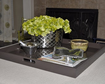 """22"""", 24"""" or 26"""" Square Large Ottoman Tray - Dark Brown"""