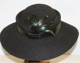 NEVER WORN! Deadstock! Pretty Women 1970s 80s Jet Black Panama Brimmed Felt Wool Hat