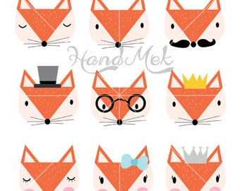 Fox clipart, Fox face Clipart ,Animals clipart Instant Download PNG file - 300 dpi