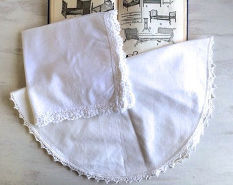 2 Vintage White Doilies With Crochet Edgings