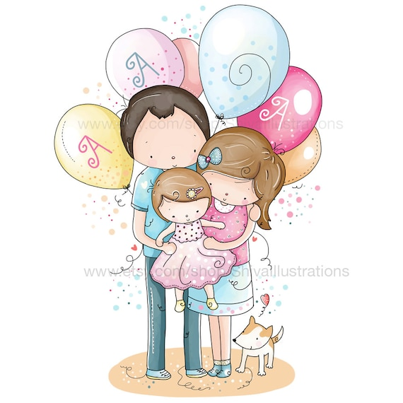 Children Illustration - Nursery Illustration, Family, Love , New Born, Birthday, Mum and Baby Puppy