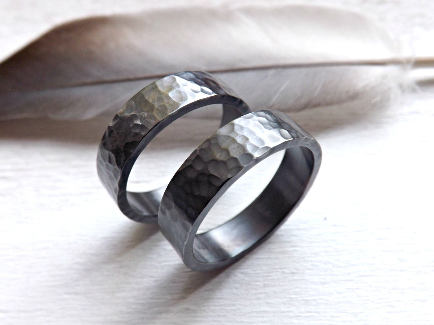 black silver wedding bands matching rings for him by CrazyAssJD