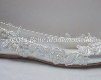 Ivory Lace Flat Ballerina Bridal Wedding Shoes