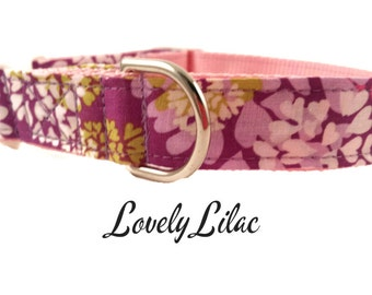 Floral Lavender Dog Collar, Lovely Lilac, Adjustable Sizes forextra small, small, medium, large and Extra Large dogs