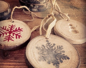 Rustic Christmas Ornaments - Snowflakes -wood slice ornament