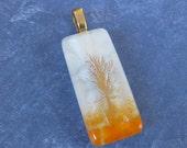 Autumn Scene, Orange and White Pendant with Gold Tree, Omega Slide, Etsy Fashion Jewelry - Cali - 4708 -4