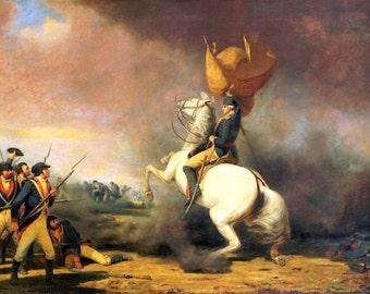 George Washington at Princeton M Ranney canvas print, 11x14  Revolutionary war, horse, president