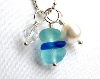 Stacked Sea Glass Necklace Beach Glass Jewelry  Genuine Sea Glass Pendant