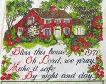 Vintage Tea Towel Bless This House 1971 Calendar Towel Cottage Chic Towel Red House Towel 1970's Dish Towel Prayer Towel 70's Kitchen