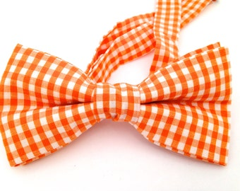 Orange gingham bow tie, bow tie,  gingham tie, Pink bow ties, Yellow Bow tie, Blue gingham tie,  orange necktie,
