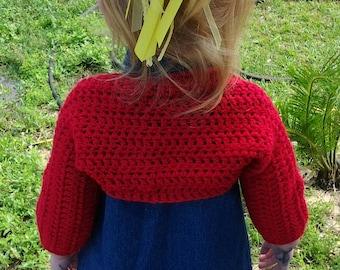 Crochet baby shrug, baby bolero, crochet baby sweater, crochet toddler shrug, girl's shrug, red baby shrug, red baby bolero,red baby sweater