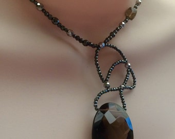 Asymmetrical statement necklace. GIANT Smoky Quartz and hematite Sterling Silver Necklace.