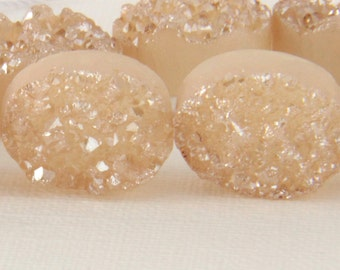 Peach Druzy Quartz Beads, One,  PAIR, or Set of 4 12.5mm x 16.5mm Metallic Titanium Peach, Oval Flatback Beads, Druzy Agate, Druzy, Beads KJ