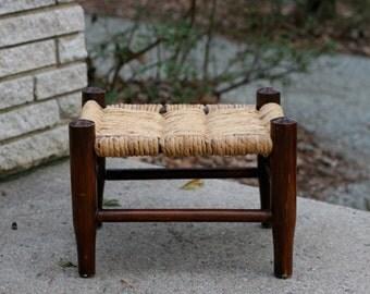 Vintage Woven Rush Bottom Footstool / Woven Rush Footstool / Primitive Footstool Woven Seat Rustic Decor