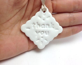 White Bridal Shower Thank You Tags, Thank You Present Tag, Gift Wrapping Thank You Clay Tags, Wedding Decoration Thank You Tag, Packs 10, 20