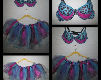 Glitter Cheetah Tutu Rave Outfit, Festival Wear, EDC Outfit