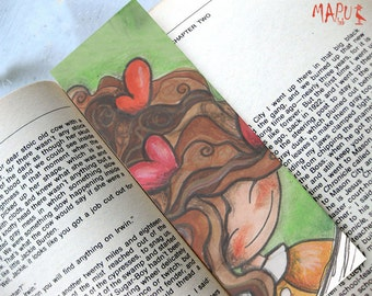 Art bookmark, Bookmark gift, Funny Bookmark, Unusual art bookmark, Handmade bookmarks, Gift for writers, 'Girl with the head full of hearts'