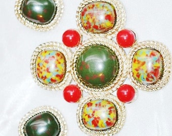 Vintage Sarah Coventry Mosaic  Brooch and Earrings Faux Bloodstone Set
