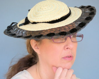 1950's Straw Hat with Black Velvet Ribbon Lace