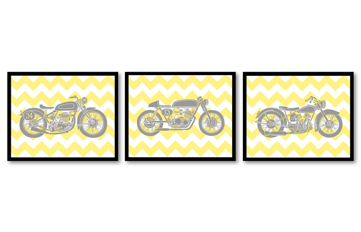 Motorcycle Nursery Art Nursery Prints Transportation Set of 3 Prints Yellow Grey Chevron Boys Art Nu