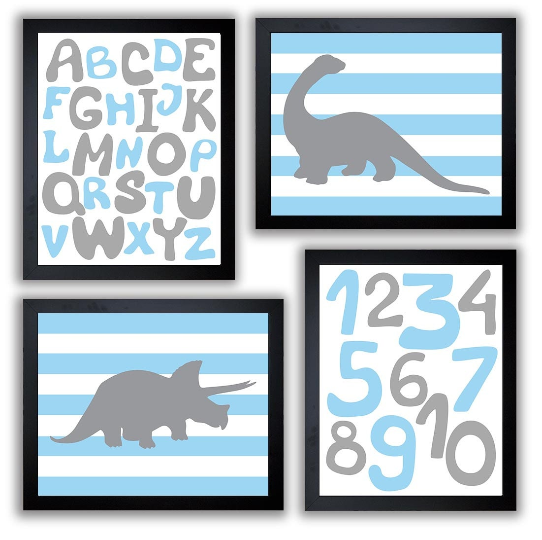 Dinosaurs Nursery Art Set of 4 Prints Grey Blue Stripes Tyrannosaurus Rex Brachiosaurus Alphabet Num