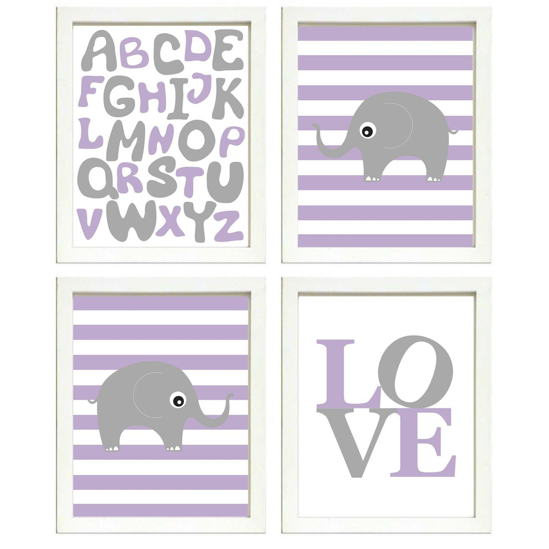 Elephant Nursery Art Set of 4 Prints Grey Purple Stripes LOVE Alphabet ABC Child Kids Room Wall Deco