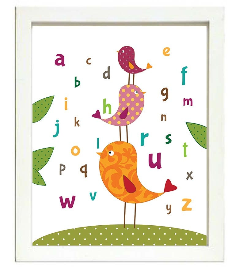 Cute Birds Alphabet Nursery Art Nursery Print Baby Art ABC Baby Animal Bird Chick Red Orange Pink Po