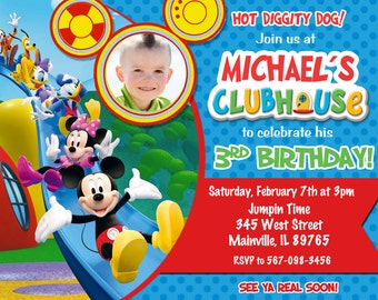 Mickey Mouse Clubhouse Birthday Party Invitation - Printable or Printed