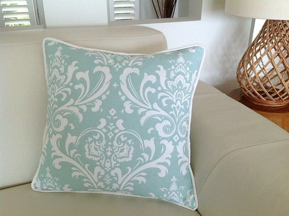 damask duck egg blue designer cushions robin egg blue linen. Black Bedroom Furniture Sets. Home Design Ideas