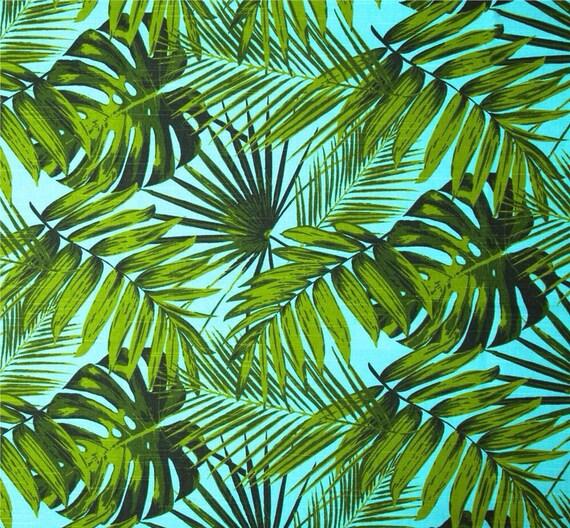 Palm Leaves Tropical Table Runner Coastal Classic. Vintage Hawaiian Style.  Botanicals Beach House Decor. Retro Tropical