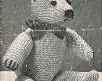 Teddy Bear knitting pattern. Vintage copy. PDF Instant download