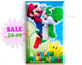 Super Mario riding green yoshi  single light switch cover wall plate children gamer boys video game