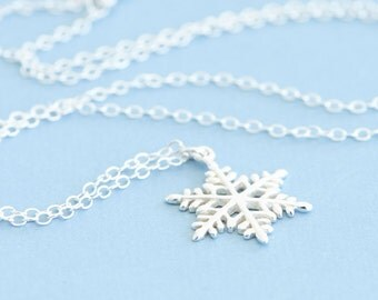 Snowflake Necklace, Sterling Silver Layer Necklace Set, Winter Jewelry, Winter Necklace, Bridesmaid Wedding, Christmas Gift