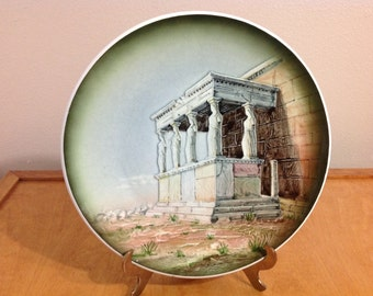 "12"" Vintage Plate of The Caryatid Porch in Athens Made in Greece"