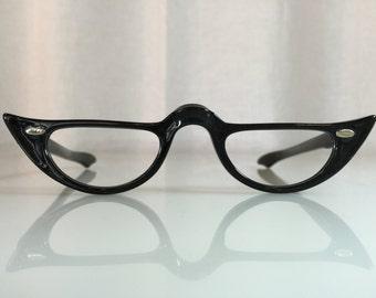 VINTAGE NOS Tart Optical Enterprises Cute Black Cat Eye Women's 1950s Half-Eye Glasses Frames or Readers