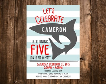 Shark Birthday Invitation; Red & Blue