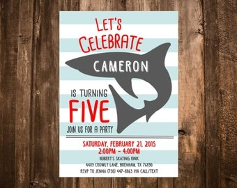 Shark Birthday Invitation; Red & Blue; Printable or set of 10