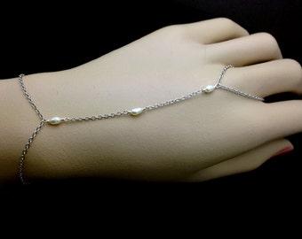 Slave bracelet - sterling silver slave bracelet, hand bracelet, delicate slave bracelet, finger to wrist bracelet, body jewelry