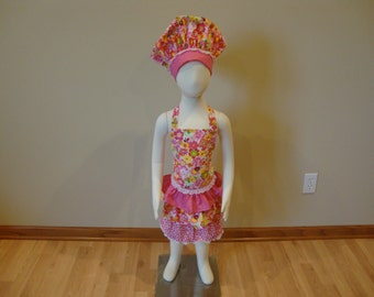Children's Adjustable Apron and Hat Set