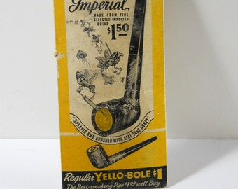 Vintage Yello-Bole pipe tool and package of pipe cleaners, 1940's-50's, Tobacco collectible