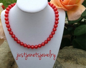 Upcycled Red Beaded Necklace
