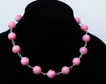 Bubble gum pink, wire-wrapped, micro-faceted rhodochrosite gemstone necklace