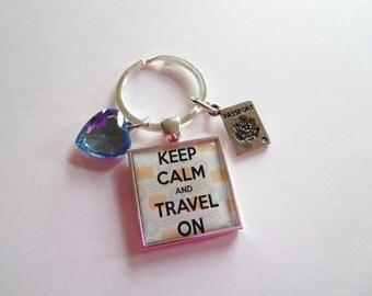 Keep Calm and Travel On Keychain