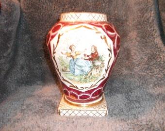 Antique, hand-painted Watteau signed porcelain vase