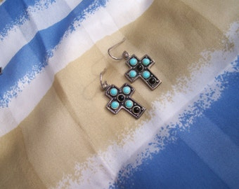 sterling silver cross earrings with turquoise and black accents