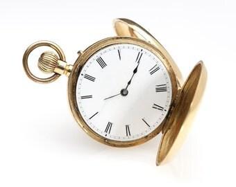 19th Century Beautiful 18K Gold Pocket Watch w/Demi Hunter Case-Nice!!