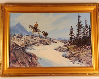 "Dan Goozee ""Western Rider & Packhorse in the Sierra"" Fabulous Oil Painting-WOW!!"