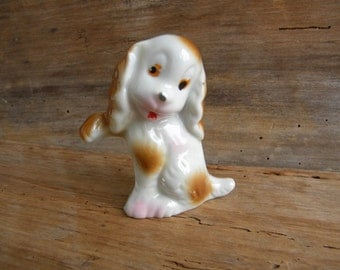 Vintage Ceramic Brown White Spotted Dog Figurine Made in Japan