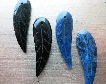 Wing Bead Pendent Carving Lapis Onyx