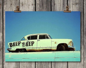 Beep Beep - Vintage White Car - Coeur d' Alene, ID - Fine Art Print - Metal Print